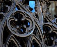 Sezione nera del recinto del ferro battuto con quatrefoil Fotografie Stock Libere da Diritti