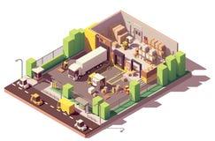 Sezione trasversale bassa isometrica del magazzino di vettore poli royalty illustrazione gratis