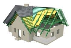 Sezione trasversale con la casa dell'isolamento illustrazione di stock