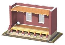 sezione trasversale 3D della casa con mattoni a vista Fotografia Stock