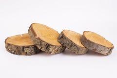 Sezione trasversale del tronco di albero su fondo bianco immagini stock