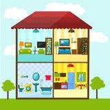 Sezione trasversale della casa nell'illustrazione piana di stile Fotografia Stock Libera da Diritti
