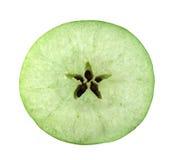 Sezione trasversale della fetta della mela verde Fotografia Stock