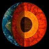 Sezione trasversale della terra del pianeta - illustrazione Fotografia Stock Libera da Diritti
