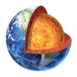Sezione trasversale della terra. Versione del mantello inferiore. Immagine Stock