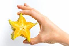 Sezione trasversale di Starfruit Fotografie Stock