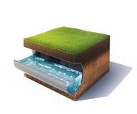 Sezione trasversale di terra con erba ed il tubo d'acciaio con acqua isolata su bianco Fotografia Stock