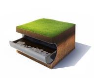 Sezione trasversale di terra con erba ed il tubo d'acciaio con olio isolato su bianco Fotografia Stock Libera da Diritti