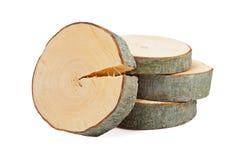 Sezioni trasversali di legno impilate Fotografia Stock