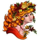 Sezon dziewczyny jesieni kolor na błękitnym hor Zdjęcia Stock