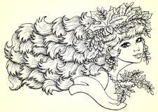 Sezon dziewczyny jesieni kontur horizontally Obrazy Royalty Free