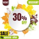 Sezon sprzedaży sztandar z jesiennymi liśćmi Fotografia Royalty Free