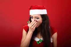 Sezonowa grypa Nieszczęśliwej frustraci chora kobieta ka w Han fotografia stock