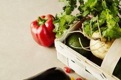 Sezonowi warzywa w łozinowym koszu Słodki pieprz zielenieje oberżyny rzepy avocado Fotografia Royalty Free