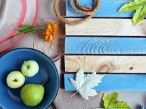 Sezonowy dekoracyjny skład kwiaty, liście i owoc, fotografia royalty free
