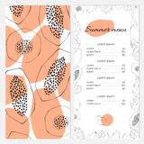 Sezonowy lato menu szablon Obrazy Stock