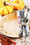 Sezonowy stołowy położenie z dekoracyjnymi baniami fotografia royalty free