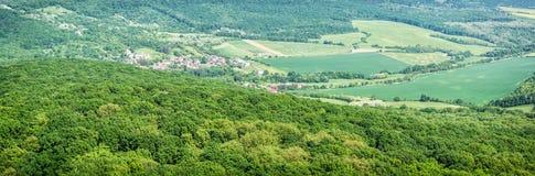 Sezonowy zielony las z wioską, Sistani zdjęcia stock