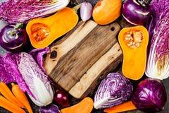 Sezonowy zimy jesieni warzyw tło Roślina jarosza lub weganinu zasadzony kulinarny pojęcie Czyści łasowania jedzenie obraz stock