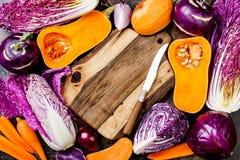 Sezonowy zimy jesieni warzyw tło Roślina jarosza lub weganinu zasadzony kulinarny pojęcie Czyści łasowania jedzenie zdjęcie stock