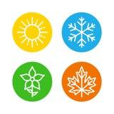 Sezony Ustawiają Kolorowe ikony lato, zima, wiosna i jesień, - prognoza pogody znak - sezony - Obrazy Royalty Free