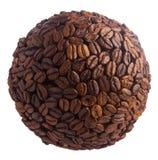Sfär av kaffebönor Planet av kaffe som isoleras på vit bakgrund Arkivfoton