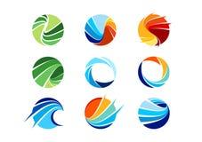 Sfär cirkel, logo, globalt som är abstrakt, affär, företag, korporation, oändlighet, uppsättning av den runda designen för symbol Arkivbild