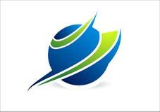 Sfär cirkel, logo, globalt som är abstrakt, affär, företag, korporation, symbol stock illustrationer