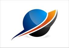 Sfär, cirkellogo, global abstrakt affärssymbol och företagskorporationssymbol Royaltyfria Bilder