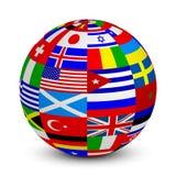 sfär 3d med världsflaggor Arkivfoto