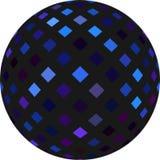 sfär för svart 3d med den blåa glimma mosaikmodellen yellow f?r vektor f?r orange red f?r objekt f?r bolldiskogreen stock illustrationer