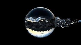 Sfär som går till och med vattenbubbla