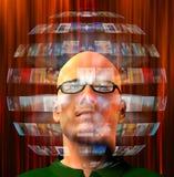 Sfären av bilder mans omkring huvudet Arkivbild