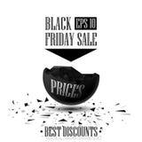Sfären förstörde 3D bästa rabatter, Black Friday Sale Arkivfoton