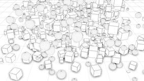 Sfärer och kuber svärmer och omorganiserat Intressera sammansättning 3d av enkla geometriska objekt, kretsade 4k slätt lager videofilmer