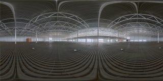 Sfärisk panorama av den inomhus konstruktionsplatsen arkivfoto