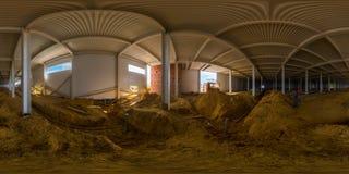 Sfärisk panorama av den inomhus konstruktionsplatsen Arkivbilder