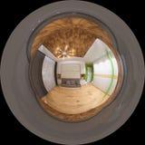 Sfärisk panorama 360 för illustration av sovrummet Arkivfoton