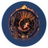 Sfärisk panoramautsikt av Moskva i natt royaltyfria bilder