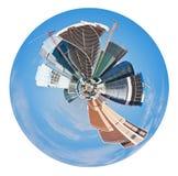 Sfärisk panoramautsikt av Moskvastaden arkivbilder