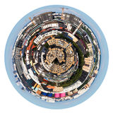 Sfärisk panoramautsikt av stads- bostadsområde arkivbilder