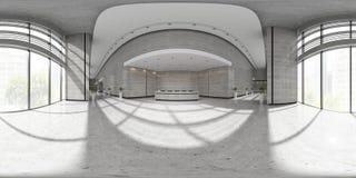 Sfärisk projektionsinre för 360 panorama av illustrationen för mottagande 3D Royaltyfria Bilder