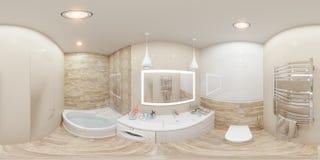 sfäriska 360 grader för illustration 3d, sömlös panorama Fotografering för Bildbyråer