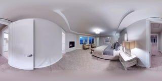 sfäriska 360 grader för illustration 3d, sömlös panorama av ett hus Arkivfoto