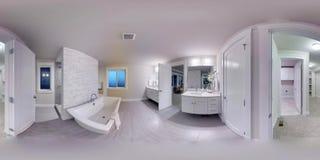 sfäriska 360 grader för illustration 3d, sömlös panorama av ett hus Arkivbild