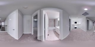 sfäriska 360 grader för illustration 3d, sömlös panorama av ett hus Arkivfoton