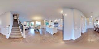 sfäriska 360 grader för illustration 3d, sömlös panorama av inredesignen Arkivfoto