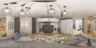 sfäriska 360 grader för illustration 3d, sömlös panorama av livien Royaltyfri Foto