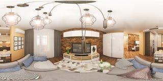 sfäriska 360 grader för illustration 3d, sömlös panorama av vardagsrum och kökinredesign Royaltyfria Bilder
