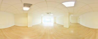 Sfäriska 360 grader panoramaprojektion, i inre tömmer rum i moderna plana lägenheter Fotografering för Bildbyråer